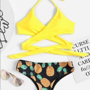 Other - Yellow Pineapple Wrap Bikini
